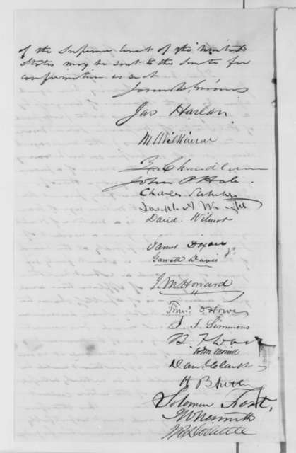 U.S. Senators to Abraham Lincoln,  1862  (Petition recommending appointment of Samuel Miller)