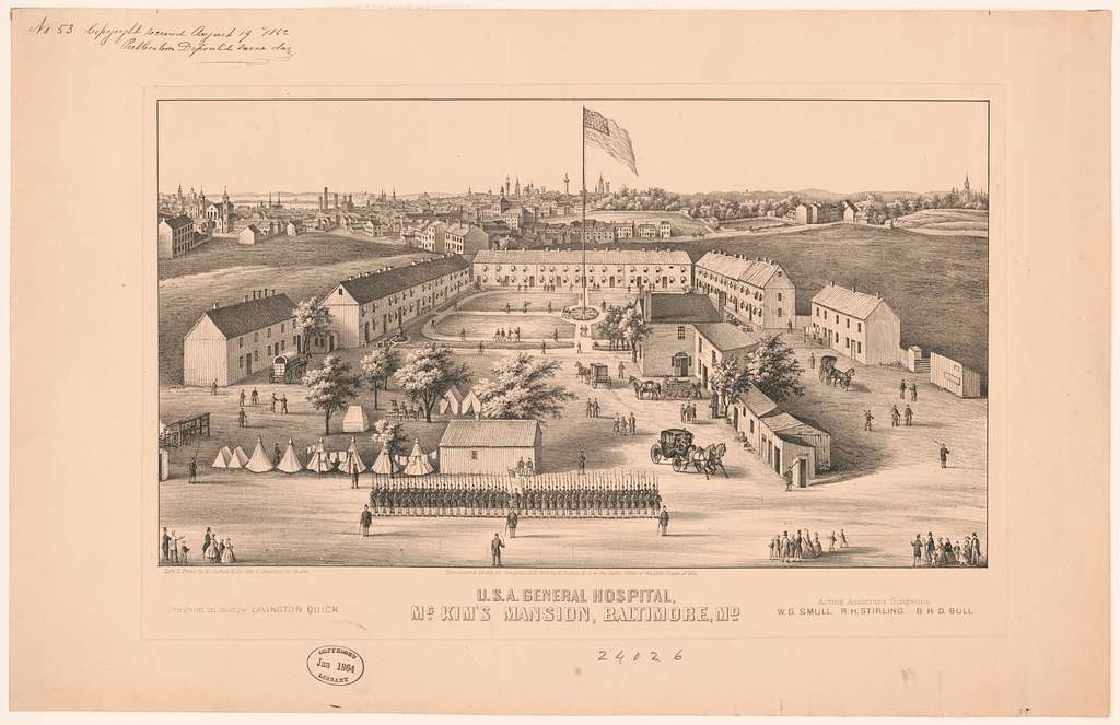 U.S.A. General Hospital, McKim's Mansion, Baltimore, Md lith. & print by E. Sachse & Co., 104 S. Charles St. Balto