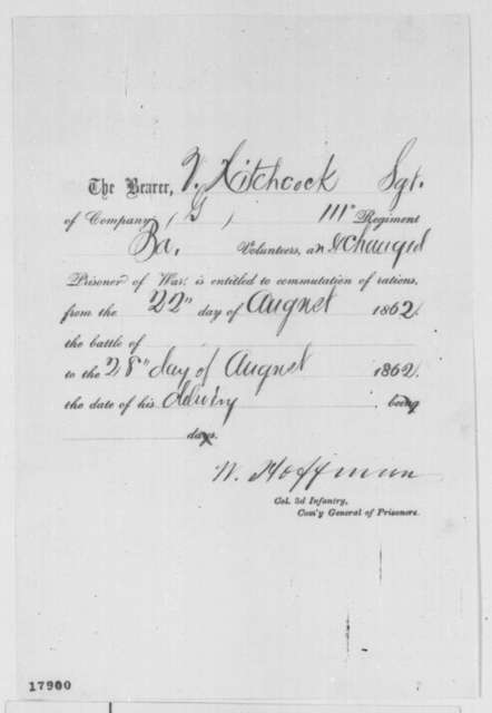 Valentine Hitchcock, Friday, August 22, 1862  (Certificate of Exchange)