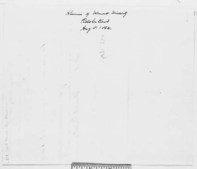 Vermont University Alumni Association to Abraham Lincoln, Tuesday, August 05, 1862  (Resolutions)