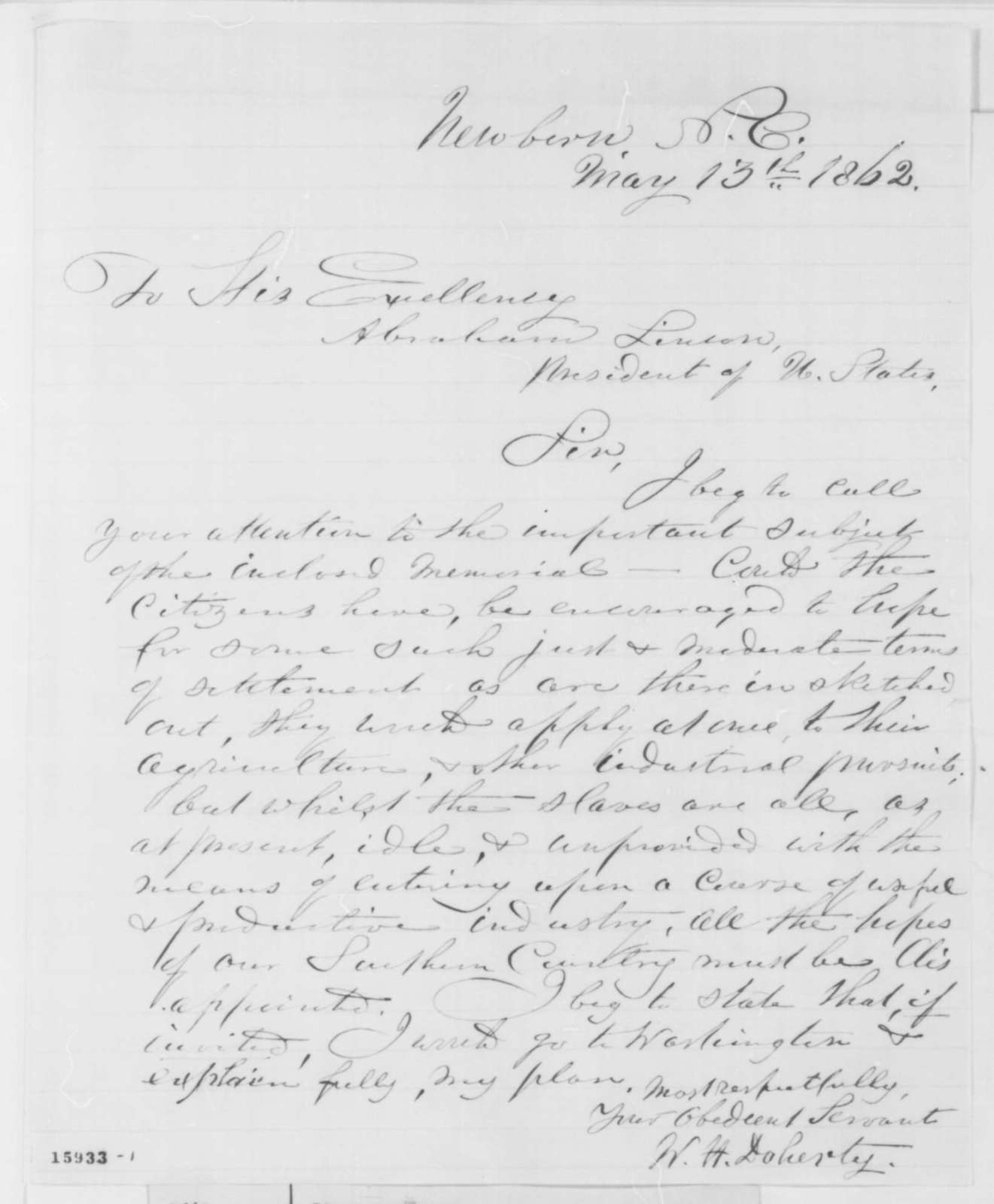 W. H. Doherty to Abraham Lincoln, Tuesday, May 13, 1862  (Plan for reconstruction)