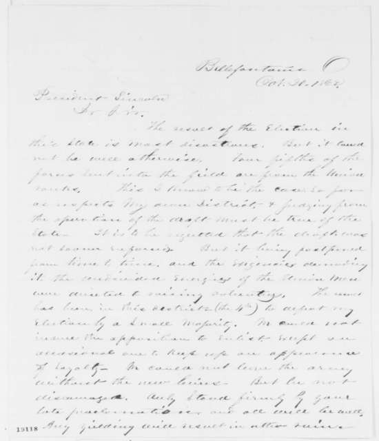 W. H. West to Abraham Lincoln, Monday, October 20, 1862  (Ohio election results)