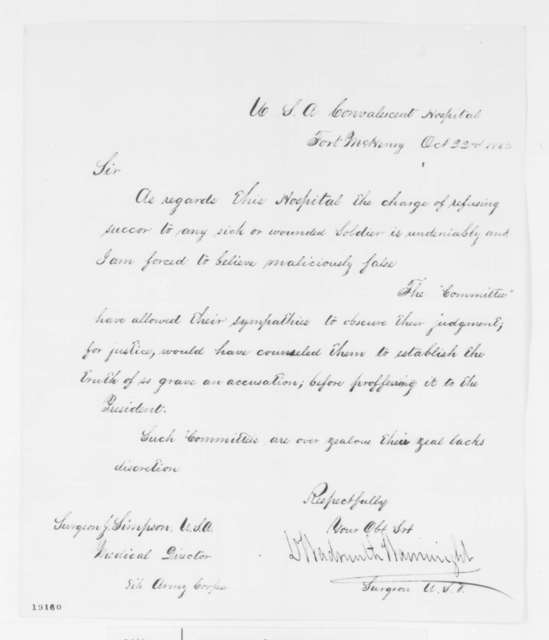Wadsworth Wainwright to Josiah Simpson, Wednesday, October 22, 1862  (Conditions at Ft. McHenry hospital)