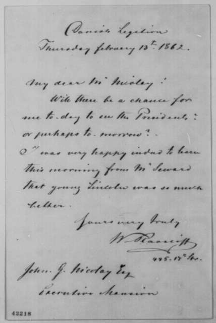 Waldemar R. Raasloff to John G. Nicolay, Thursday, February 13, 1862  (Requests interview with Lincoln)