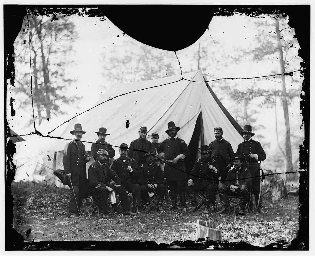 Warrenton, Virginia. Headquarters, Army of the Potomac. Generals, Ambrose E. Burnside, Winfield S. Hancock, Darius N. Couch, Edward Ferrero, Marsena R. Patrick, Orlando B. Willcox, John Cochrane, John Buford and others