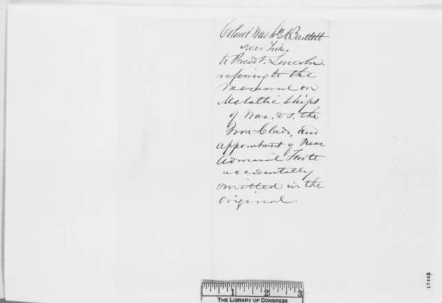 Washington A. Bartlett to Abraham Lincoln, Monday, August 04, 1862  (Naval affairs)