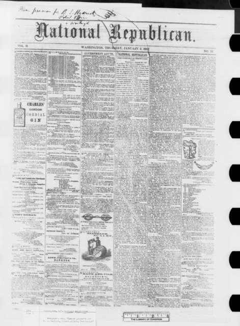 Washington D. C. National Republicans, Thursday, January 02, 1862  (Newspaper Issue)