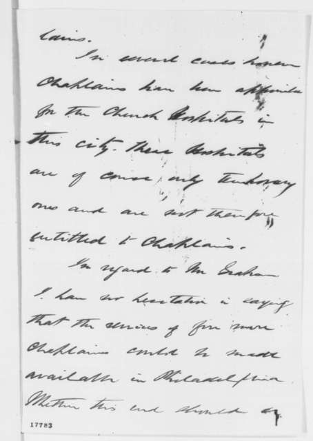 William A. Hammond to John Hay, Tuesday, August 19, 1862  (Hospitals and chaplains)