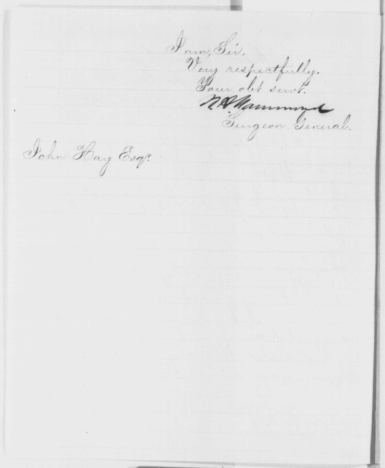 William A. Hammond to John Hay, Wednesday, September 17, 1862  (Appointment of a chaplain)