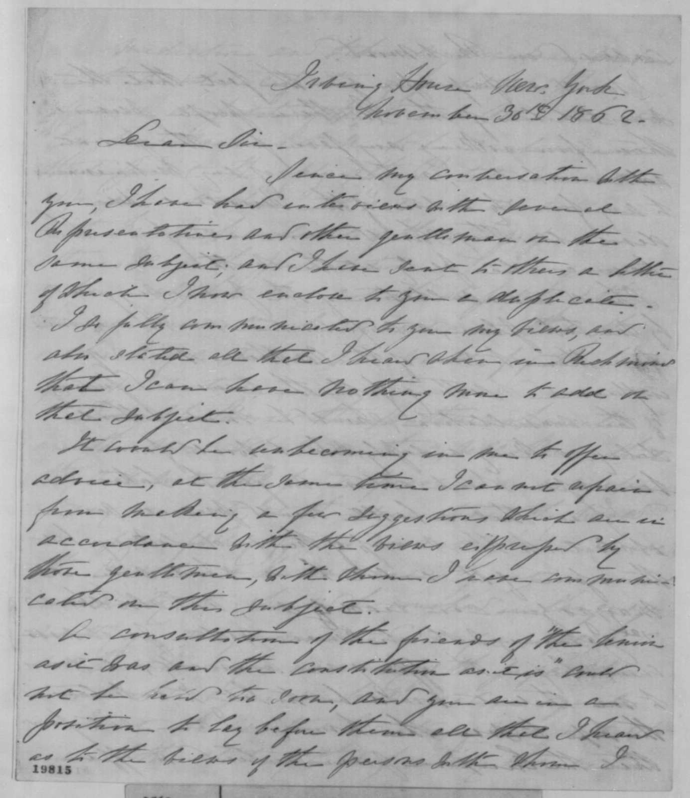 William C. Barney to Unknown, Sunday, November 30, 1862  (Political affairs)
