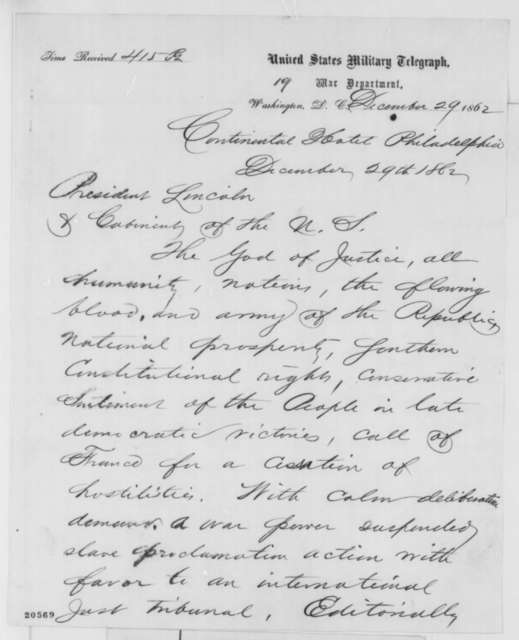 William C. Jewett to Abraham Lincoln, Monday, December 29, 1862  (Telegram concerning French mediation of the conflict)