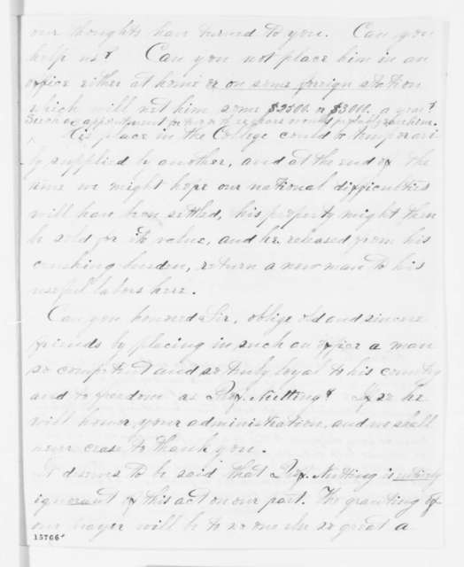 William D. Sanders and Julian M. Sturtevant to Abraham Lincoln, Thursday, May 01, 1862  (Recommendation; endorsed by James Berdan)