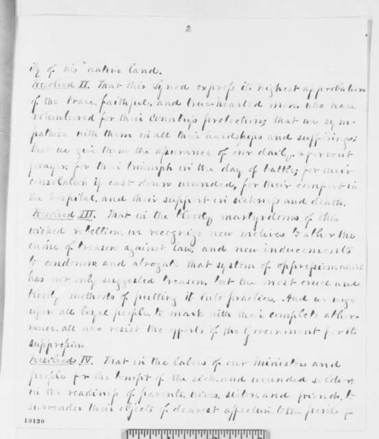 William E. Moore and John C. Smith to Abraham Lincoln, Tuesday, October 28, 1862  (Send resolutions from Pennsylvania Synod in support of war)