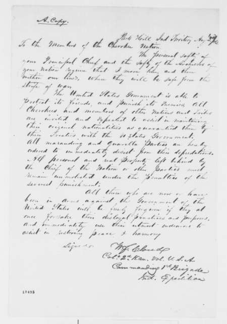 William F. Cloud to Cherokee Nation, Sunday, August 03, 1862  (Moving their chief and archives)