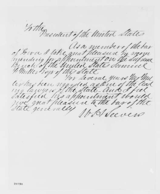 William H. Seevers to Abraham Lincoln,  1862  (Recommends appointment of Samuel Miller)