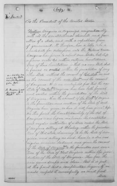 William H. Seward to Abraham Lincoln, Friday, December 26, 1862  (Opinion on admission of West Virginia; with marginal notes in Lincoln's hand)