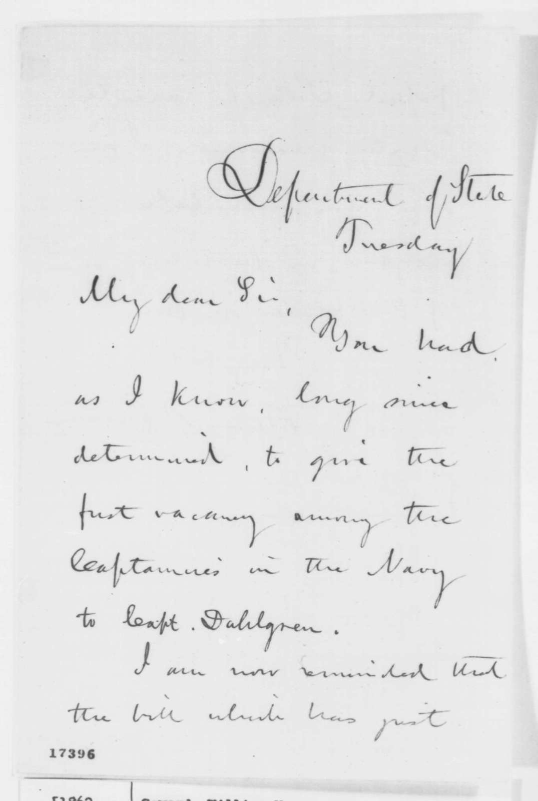 William H. Seward to Abraham Lincoln, July 1862  (Promotion for John A. Dahlgren)