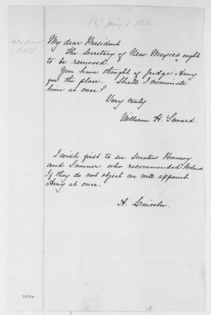 William H. Seward to Abraham Lincoln, Wednesday, January 01, 1862  (Removal of secretary of New Mexico; with endorsement by Abraham Lincoln)