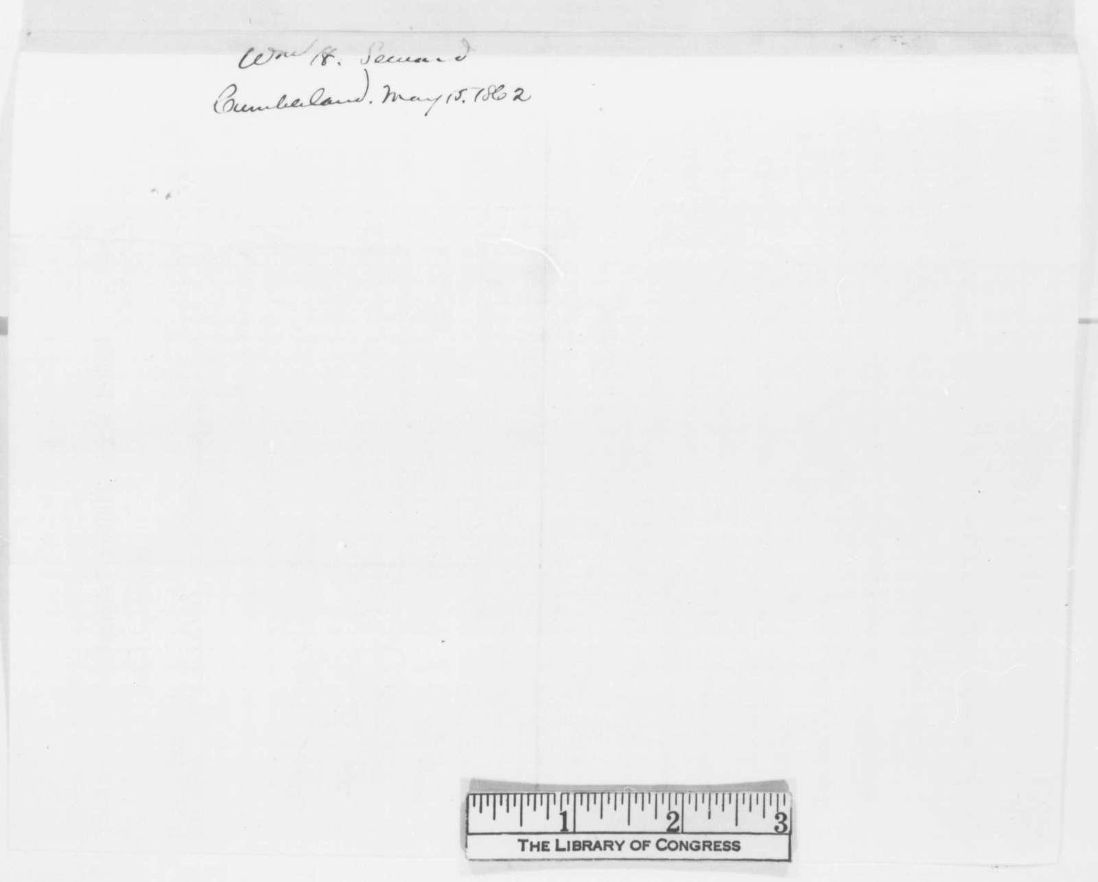 William H. Seward to Abraham Lincoln, Wednesday, May 14, 1862  (Telegram regarding military affairs)