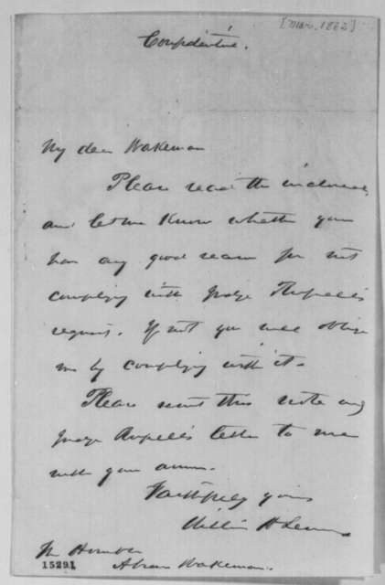 William H. Seward to Abram Wakeman, March 1862  (Cover letter)
