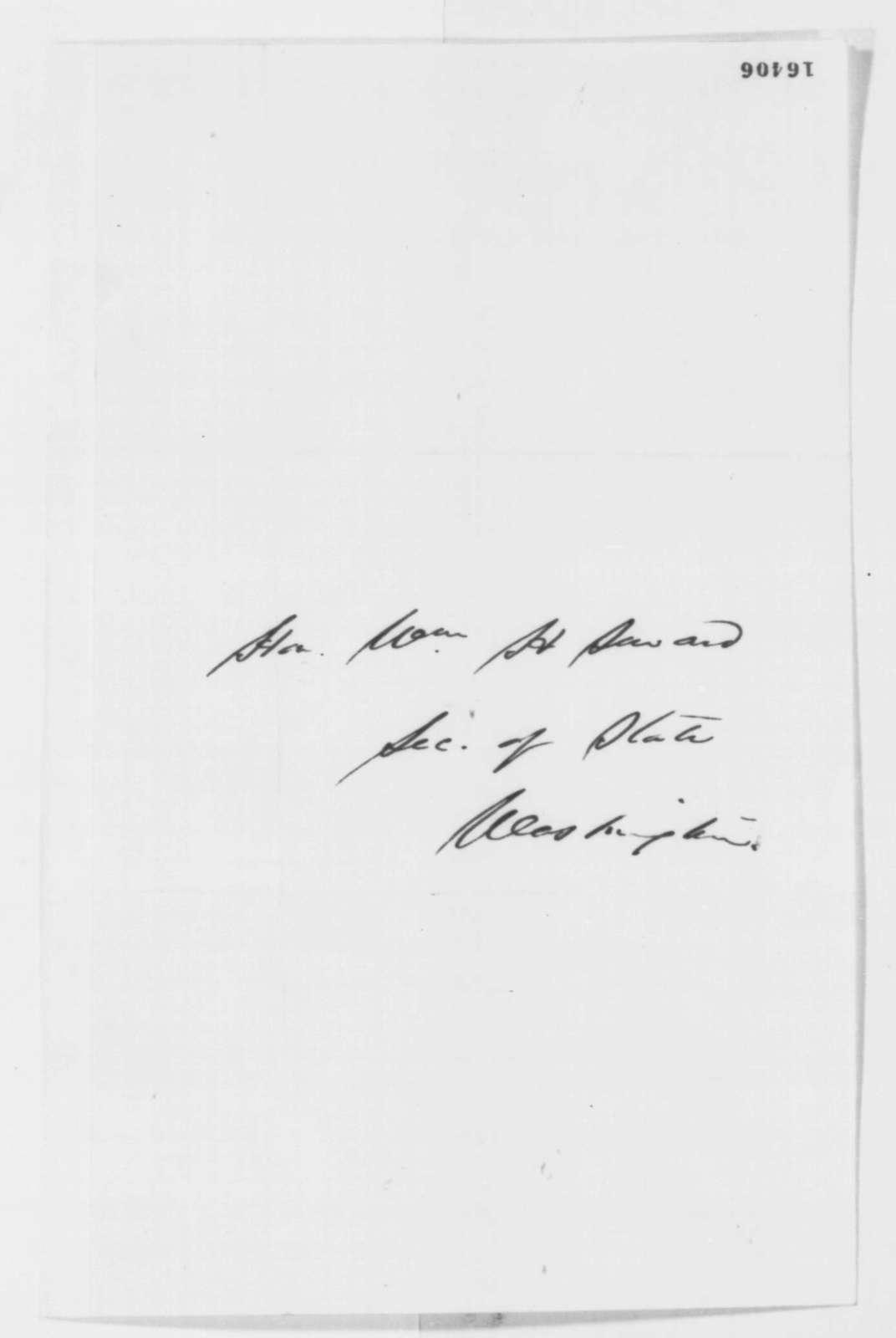 William Price to William H. Seward, Monday, June 09, 1862  (Arrest of Judge Richard Carmichael)