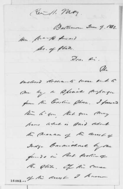 William Price to William H. Seward, Monday, June 09, 1862  (Arrest of Judge Richard Carmichael)