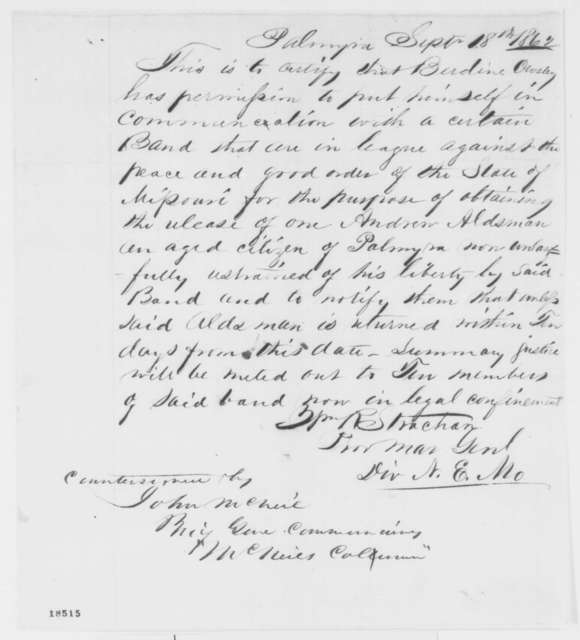 William R. Strachan, Thursday, September 18, 1862  (Grants permission to Berdine Owsley to communicate with guerillas)