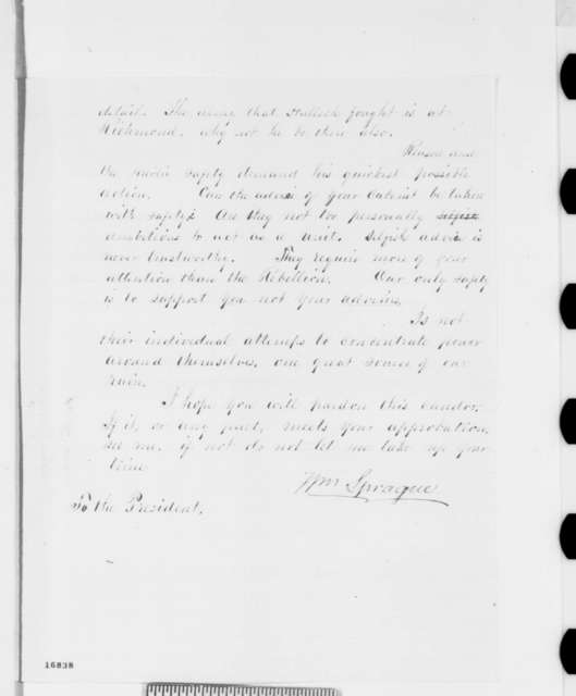 William Sprague to Abraham Lincoln, Saturday, July 05, 1862  (Military advice)
