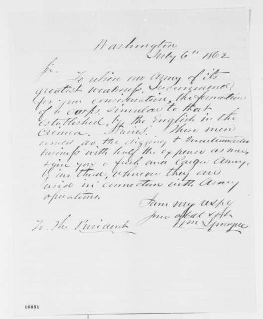 William Sprague to Abraham Lincoln, Sunday, July 06, 1862  (Military advice)