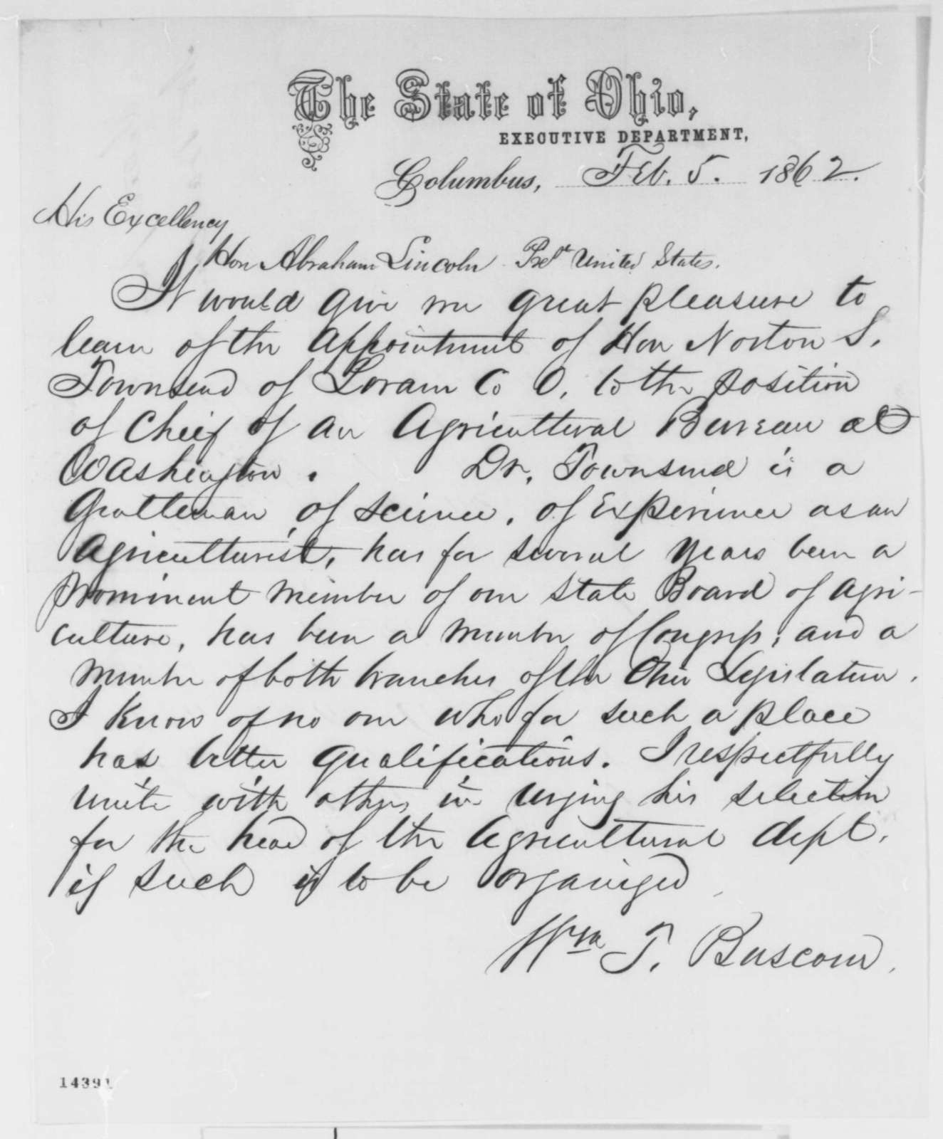 William T. Bascom to Abraham Lincoln, Wednesday, February 05, 1862  (Recommendation)