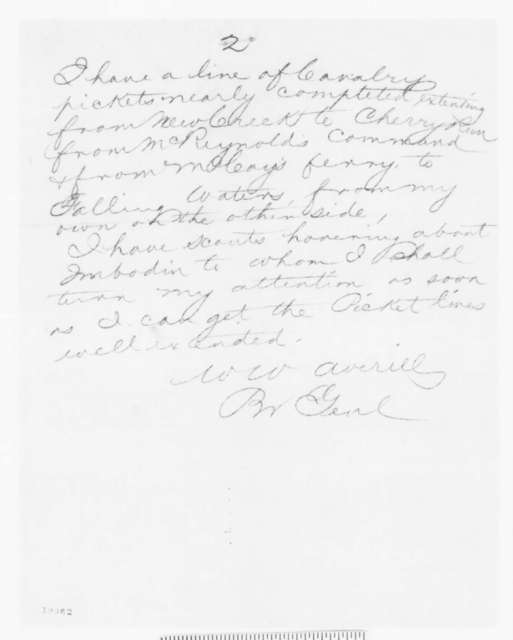 William W. Averell to Randolph B. Marcy, Friday, October 10, 1862  (Telegram concerning military affairs)