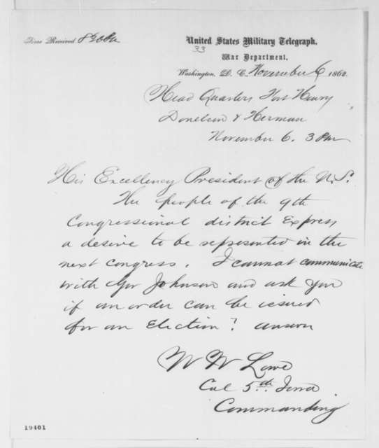 William W. Lowe to Abraham Lincoln, Thursday, November 06, 1862  (Telegram concerning a Congressional election in Tennessee)