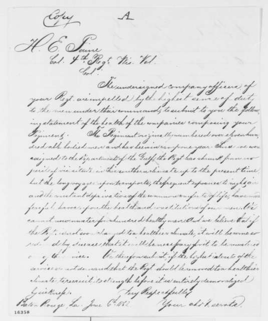 Wisconsin 4th Regiment Volunteers to Halbert E. Paine, Friday, June 06, 1862  (Petition; endorsed by Paine)