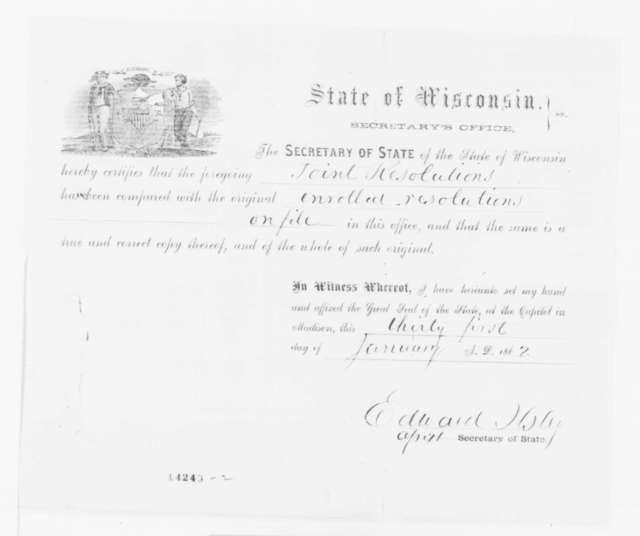 Wisconsin Legislature, Thursday, January 30, 1862  (Resolution recommending promotion of Gen. Sigel)