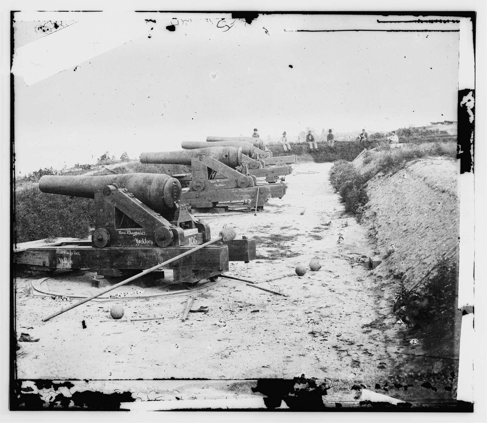 Yorktown, Va. Confederate water Battery Magruder, with Rodman smooth-bore siege guns