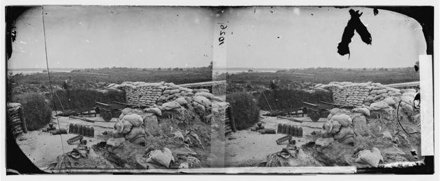 Yorktown, Virginia. Confederate battery JEFF DAVIS