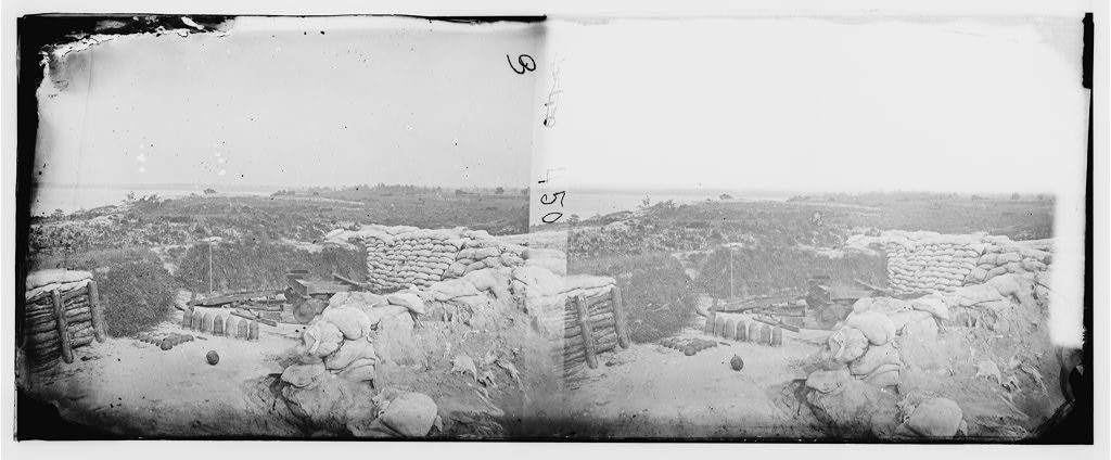 Yorktown, Virginia. Confederate battery with Gen. McClellan's No. 1 mortar battery in the distance