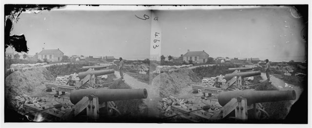 Yorktown, Virginia. Naval battery with Nelson church in background used as a hospital