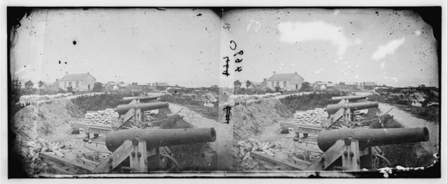Yorktown, Virginia. Naval battery with Nelson house in background used as a hospital