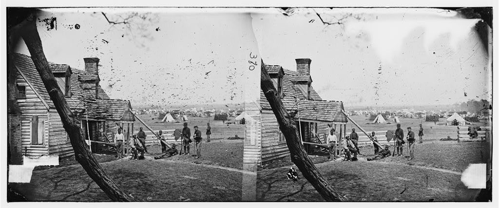 Yorktown, Virginia (vicinity). Allen's farm house near Williamsburg Road. General Fitz John Porter's headquarters. Corps of Sumner and Heintzelman camped in the background