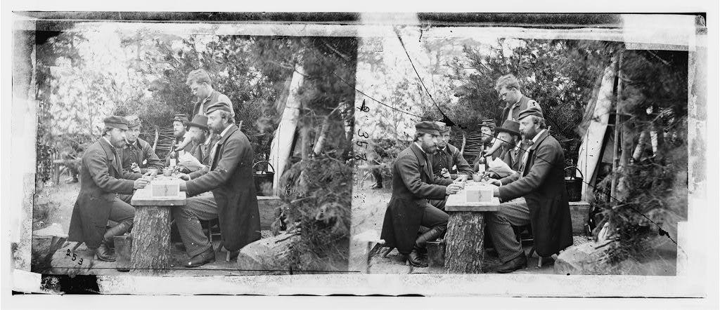 Yorktown, Virginia (vicinity). Comte de Paris, Duc de Chartres, Prince de Joinville and friends at lunch. Camp Winfield Scott
