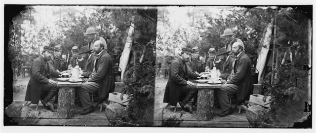 Yorktown, Virginia (vicinity). Comte de Paris, Duc de Chartres, Prince de Joinville and friends at lunch. Camp Winfield Scott