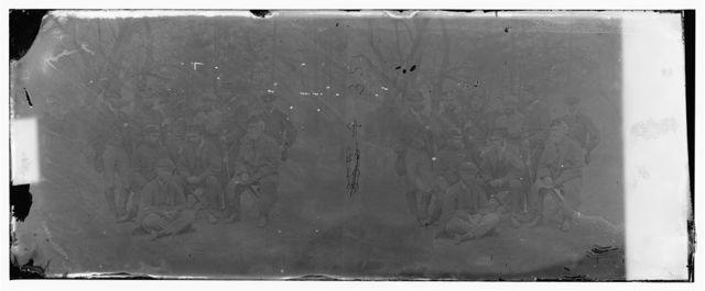 Yorktown, Virginia (vicinity). Group at Camp Winfield Scott. T. Anderson, Esq. Lt. Col. Fletcher, Lt. Col. Neville, Major A.J. Pearson, Prince de Joinville, Comte de Paris, Gen. Stewart Van Vliet, G. Sheffield, S.L. Arny, Duc de Chartres