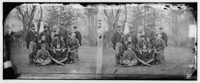 Yorktown, Virginia (vicinity). Group.  T. Anderson, Esq. Lt. Col. Fletcher, Lt. Col. Neville, Major A.J. Pearson, Prince de Joinville, Comte de Paris, Gen. Stewart Van Vliet, G. Sheffield, S.L. Arny, Duc de Chartres