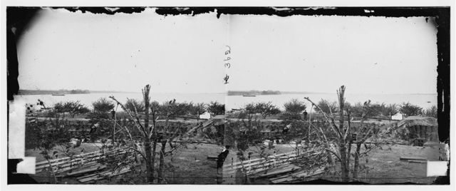 Yorktown, Virginia (vicinity). View of Yorktown and fleet from Farenholt's house. Battery No. 1 in foreground