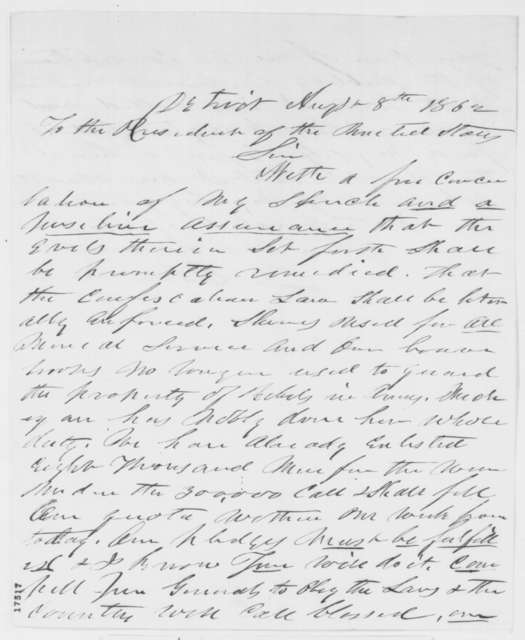 Zachariah Chandler to Abraham Lincoln, Friday, August 08, 1862  (Confiscation Act)