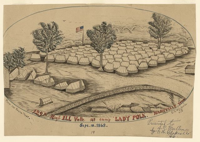 "129th Reg + ILL Volls. [sic] at camp ""Lady Polk,"" Nashville, Tenn"