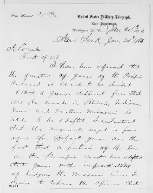 A. Boody to Abraham Lincoln, Saturday, January 24, 1863  (Telegram concerning gauge of the Pacific Railroad)