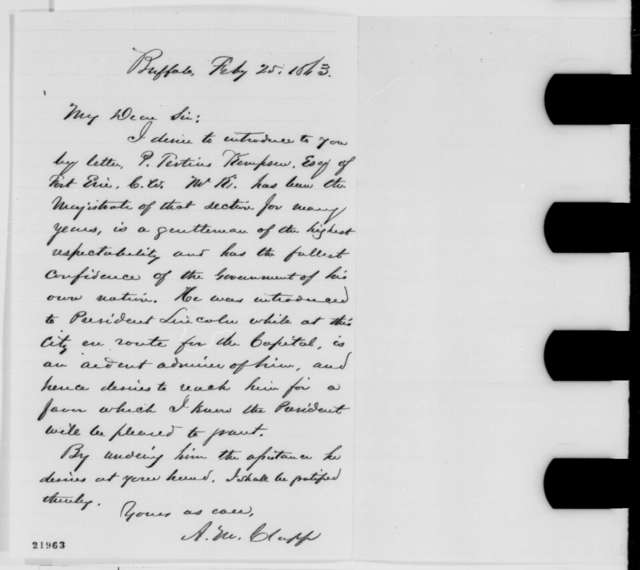 A. M. Clapp to Elbridge G. Spaulding, Wednesday, February 25, 1863  (Introduction)