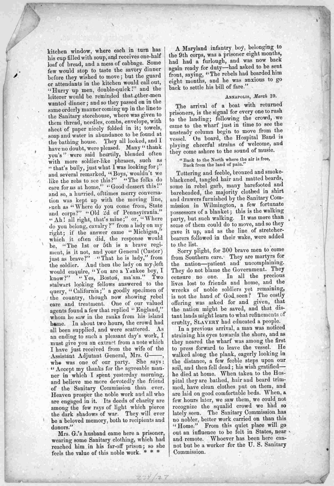 A week in Annapolis. Extracts from the journal of Mrs. H----, visiting the prisoners. [1863?].